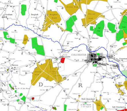 An extract from the redrawn map including Fordham, Bergholt and Colchester